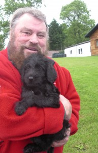 brian blessed with Dogs for the Disabled puppy
